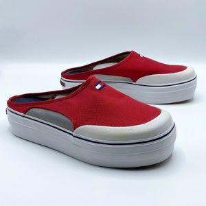 Vintage Tommy Hilfiger Red Platform Slip On Shoes 90s